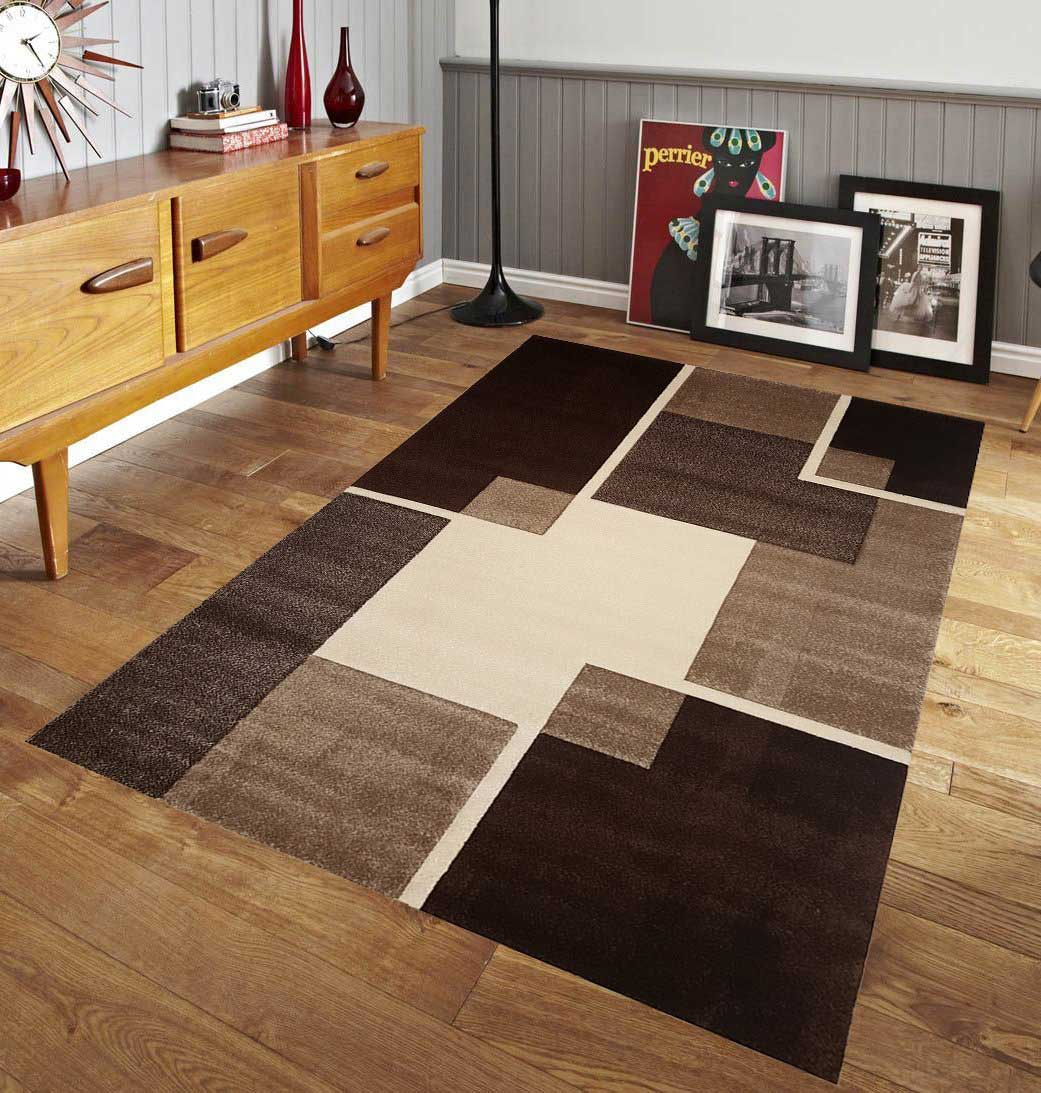 Renzo Collection Easy Clean Stain And Fade Resistant Brown Area Rug For Living Room Bedroom Kitchen Modern Geometric Space Design With Jute Backing