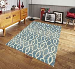 Pyramid Decor - Contemporary Trellis Design Area Rug - Blue 5x7