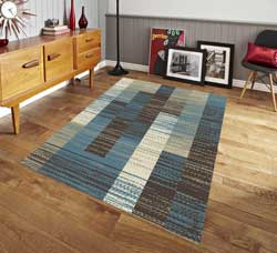Pyramid Decor - Verdi Collection Modern Integra Design Area Rug Blue - 5x7